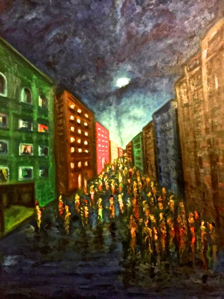 'Economic Divide' Oil on Canvas P Fisayo March 2015